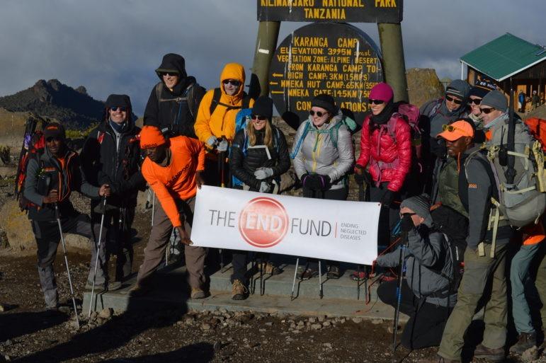 Hikers climbing Kilimanjaro at Karanga camp