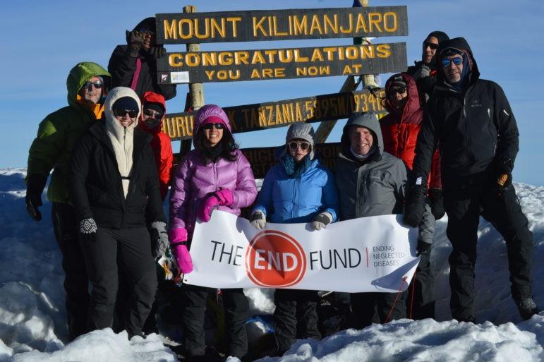 The team at the summit of Kilimanjaro